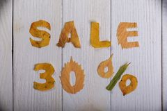 Sale 30 percent. The text `sale, 30 percent` cut from different yellow and orange fallen leaves from the trees and laid on the white wooden boards Royalty Free Stock Images