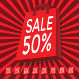 Sale 10 - 90 percent text on with red shopping bag. Vector Royalty Free Stock Photo