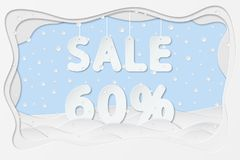 Sale 60 percent text. Vector illustration of sale 60 percent lettering as layered paper cutting art design Stock Image
