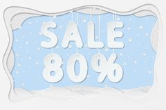 Sale 80 percent text. Vector illustration of sale 80 percent lettering hanging on rope as layered paper cutting art design Stock Photo