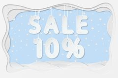 Sale 10 percent text. Vector illustration of sale 10 percent lettering hanging on rope as layered paper cutting art design Royalty Free Stock Photos