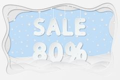 Sale 80 percent text. Vector illustration of sale 80 percent lettering as layered paper cutting art design stock illustration