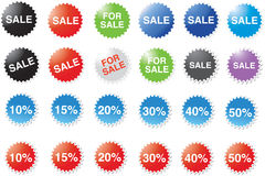 Sale and percentage labels. Set of circular, star shaped sale icons or labels with different percentage reduction amounts, isolated on white background Stock Images