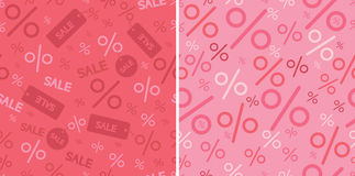 Sale and percentage signs two seamless pattern Royalty Free Stock Photos