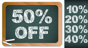 Sale Percentages on Blackboard with Chalk. Stock Photography