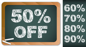 Sale Percentages on Blackboard with Chalk. Stock Photo