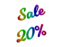 Sale 20 Percents Discount Calligraphic 3D Rendered Text Illustration Colored With RGB Rainbow Gradient. Isolated On White Background Royalty Free Stock Image