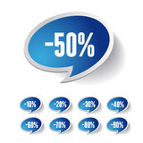 Sale percents label. Vector set. Isolated Stock Photo