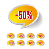 Sale percents label. Vector set. Isolated Stock Photography