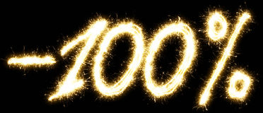 -100% Sale percents made by sparkler Royalty Free Stock Photography