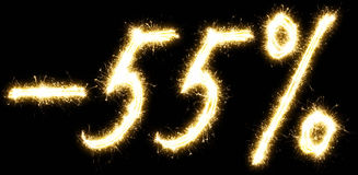 -55% Sale percents made of sparkler Royalty Free Stock Images