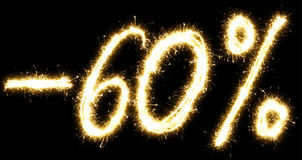-60% Sale percents made by sparkler Royalty Free Stock Photo