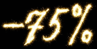 -75% Sale percents made of sparkler Stock Image