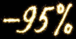 -95% Sale percents made of sparkler Royalty Free Stock Photo