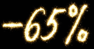 -65% Sale percents made of sparkler Royalty Free Stock Images
