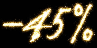 -45% Sale percents made of sparkler Stock Image
