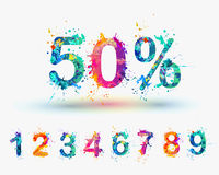 SALE Percents. Vector paint splash. You can set any discount from the collection of digits Royalty Free Stock Image