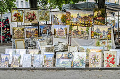 Sale of pictorial art on the street of Lviv Royalty Free Stock Photography