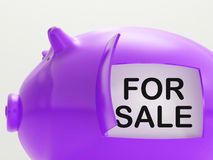 For Sale Piggy Bank Means Selling Goods Stock Photography