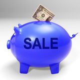 Sale Piggy Bank Shows Price Cut And Discounted Products Royalty Free Stock Image