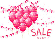 Sale with pink balloons and pennants Royalty Free Stock Image