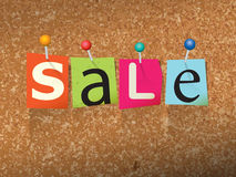 Sale Pinned Paper Concept Illustration Royalty Free Stock Images