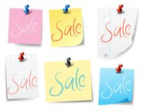Sale Pinned, Sticky Notes, Paper Notes drawn with a realistic style. Sale pieces of paper pinned, for Banners, Websites, Leaflets, Paper pieces ripped and sticky Royalty Free Stock Photo