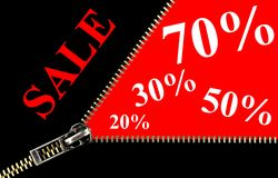 Sale placard and zipper concept. Sale placard with zipper opening concept on red background. 70%, 50%, 30%, 20% discount Stock Illustration