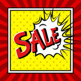 Sale pop art explosion over dotted background. Royalty Free Stock Photos
