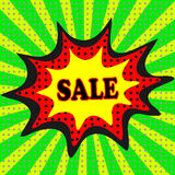 Sale pop art explosion over dotted background. Vector illustration Royalty Free Stock Photos
