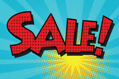 Sale pop art retro comic book lettering vector illustration