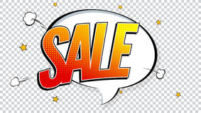 Sale pop art splash background, explosion in comics book style. Advertising signboard, price reduction with halftone. Dots, cloud beams on transparent backdrop stock illustration