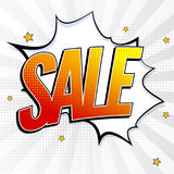 Sale pop art splash background, explosion in comics book style. Advertising signboard, price reduction, sale with. Halftone dots, cloud beams on white backdrop royalty free illustration