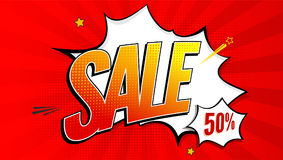 Sale pop art splash background, explosion in comics book style. Advertising signboard, price reduction, sale with. Halftone dots, clouds beams on red backdrop vector illustration