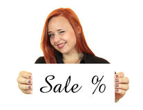 Sale. Portrait of a beautiful young woman holding up copy space Stock Photo
