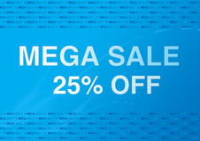 Sale poster 1. Sale poster in blue background - 25 percent off Stock Photo