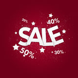 Sale poster. And discount. with stars on red Stock Photography