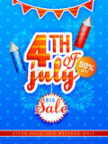 Sale poster or banner for American Independence Day celebration. Big Sale poster, banner or flyer decorated with fireworks for 4th of July, American Royalty Free Stock Image
