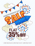 Sale poster or banner for American Independence Day celebration. Stylish Sale poster, banner or flyer design decorated with firecrackers for American Royalty Free Stock Images