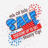 Sale Poster or Banner for American Independence Day. 4th of July Sale Poster, Sale Banner, Sale Flyer, Discount upto 50%, Creative illustration with firecracker vector illustration