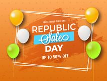 Sale poster or banner design, upto 50% discount offer with deco. Rative balloons on grunge background for Republic Day celebration royalty free illustration