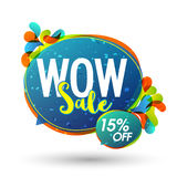 Sale Poster or Banner design. Wow Sale, Poster, Banner, Flyer, Flat Discount Upto 15% Off, Vector illustration with colorful abstract design Royalty Free Stock Images