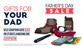 Sale Poster or Banner for Father's Day celebration. Royalty Free Stock Photos