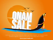 Sale Poster, Banner, Flyer with 3D text for Onam. Glossy 3D text Onam Sale on Snake Boat, Creative Poster, Banner or Flyer design for South Indian Famous Royalty Free Stock Photography