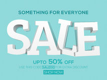 Sale Poster, Banner or Flyer design. Sale with Upto 50% Off, Creative 3D typographical background, Can be used as Poster, Banner or Flyer design Royalty Free Stock Photo