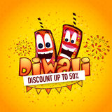 Sale poster, banner or flyer for Diwali. Creative poster, banner or flyer design with funny firecrackers for Diwali Sale on yellow background Stock Photography