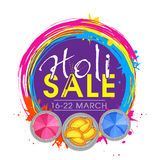 Sale poster, banner or flyer for Holi Festival. Royalty Free Stock Photo