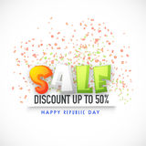 Sale Poster, Banner or Flyer for Indian Republic Day. Royalty Free Stock Photos