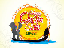 Sale Poster, Banner or Flyer for Onam celebration. Happy Onam Sale with 40% Off, Creative Poster, Banner or Flyer design with illustration of an elephant on Royalty Free Stock Photos