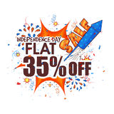 Sale Poster, Banner or Flyer for 4th of July. Creative Poster, Banner or Flyer design of Sale with Flat 35% Off on occasion of American Independence Day vector illustration